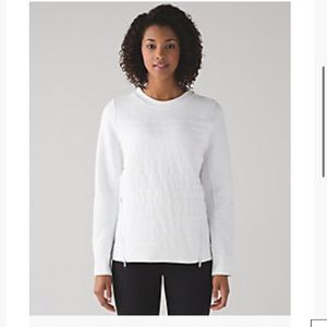 Lululemon white fleece be true Crew sweatshirt